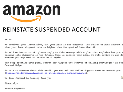 Help Reinstate Suspended Amazon Accounts