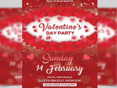 Design Valentine Day Party Flyer Template