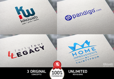100% Original Logo + 3 Concepts + Unlimited Revisions + Source Files