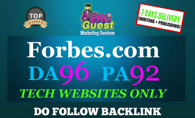 Publish a FEATURED Tech Guest Post on Forbes Forbes.com