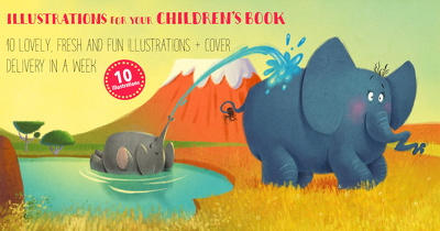 Make 10 lovely and fun illustrations for you children's book