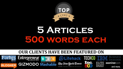 Write 5 Articles 500 Words Each UNIQUE and Pass Copyscape for guest posts