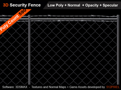 Build game ready security fence for 3ds max