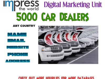 Provide you 5000 used & new Car dealers from any country