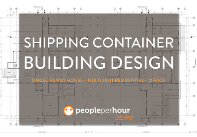 Design a professional shipping container building with 4 revisions included