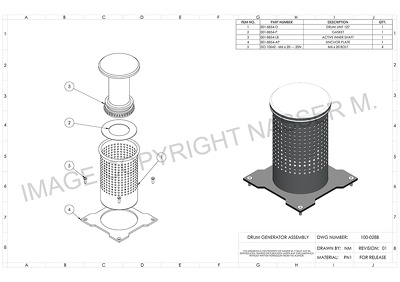 Create a professional engineering technical drawing (2D, 3D)