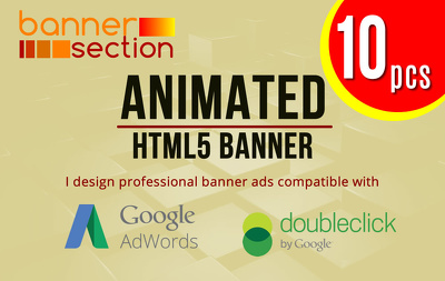 Design 10 pcs animated HTML5 Banner ads for Adwords