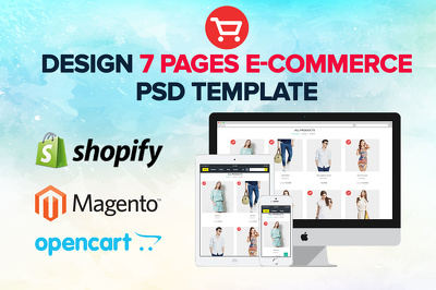 Design 7 pages Shopify / e-Commerce PSD Website Template / mockup