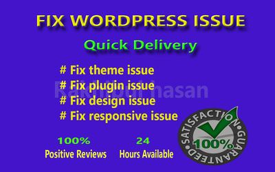 Fix any kinds of wordpress issue and bugs within an hour