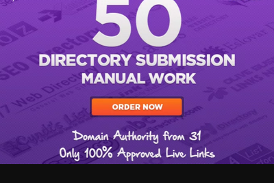Do 50 directories submission manually, only live links in report