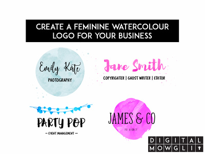 Create a feminine watercolour logo for your business