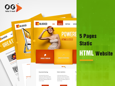 Produce 5 pages static HTML website
