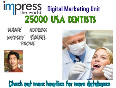 Provide you 25000 Qualified Valid Dentists Database USA