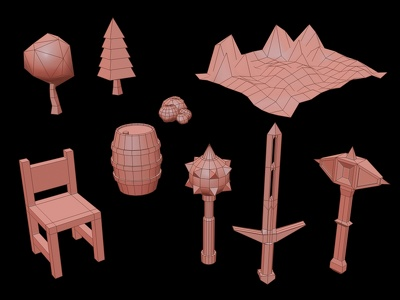 Design low poly 3D models for videogames development software