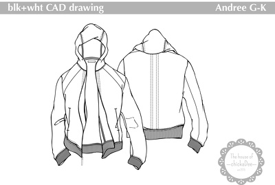Create x1 blk+wht CAD drawing in Adobe Illustrator from your design mens/womens/kids