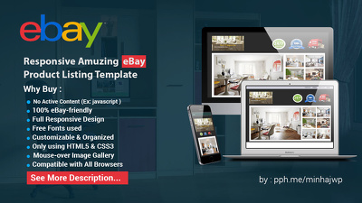 Full Responsive Amuzing eBay Product Listing Template plus free installation