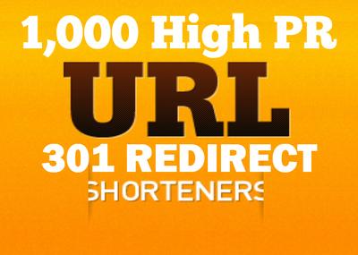 Create 1,000 301 redirect high pr backlinks for seo