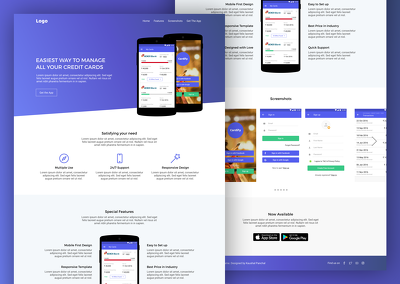 Design Mobile App Landing Page Website