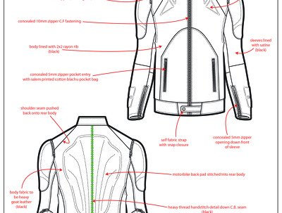 Design the garment of your choice & full tech pack ready to hand over to a factory
