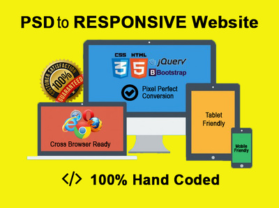 Convert PSD, JPG or PNG to Twitter Bootstrap 3 responsive, HTML5/CSS3. One page .