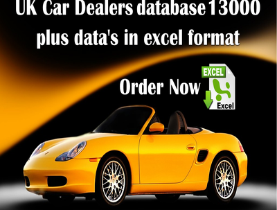 Provide database of UK Car Dealers  13000 plus data's in excel format