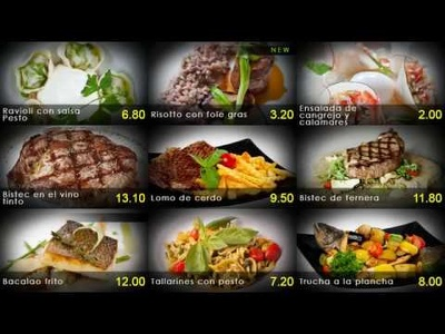 Create animated menu and advertising for your TV in the bar or restaurant