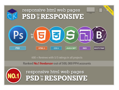 Psd to responsive HTML5 +CSS3 Incl. Js