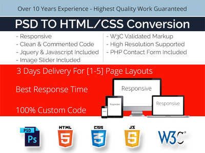 Convert  Your 1-5 Page PSD Design To Responsive HTML/CSS Layout