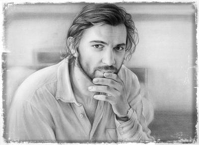 Paint realistic charcoal portrait
