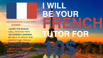 I will be your French tutor via skype with screen sharing for 10$ only