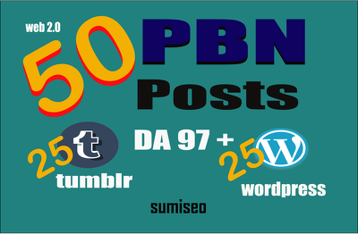 Permanent 50 Tumblr and WordPress PBN POSTs DA90+