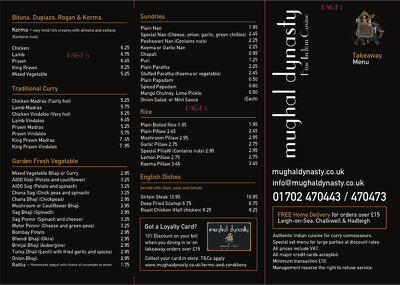 Design a bespoke restaurant menu/takeaway menu