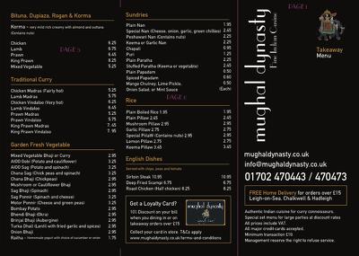 design a bespoke restaurant menu/takeaway menu