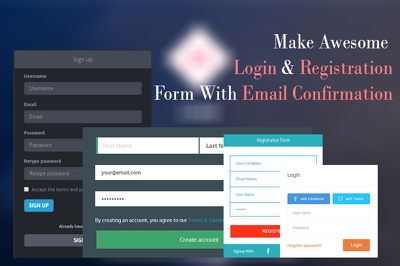 Create login and registration form with email verification