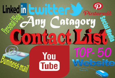 Give you 50+ contact list of YouTube channel,social media profile,  website url .....