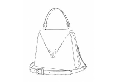 Create technical drawing for a handbag from various angles