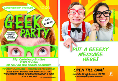 Create  GEEK/NERD theme design pack FLYER, POSTER, SOCIAL MEDIA package