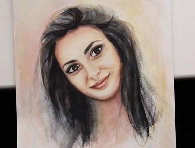 Paint a watercolor portrait from photo