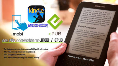 Convert ebook in epub or mobi kindle