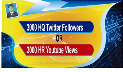 Provide 3000 HQ Twitter Followers OR 3000 HR Youtube Views