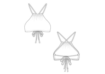 Create a technical drawing for swimwear