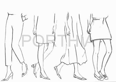 Draw fashion illustration in black and white