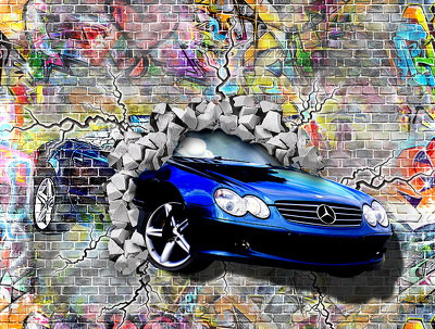 2D and 3D Graffiti Wall  Digital Graphic Design Image From Your Own Photograph