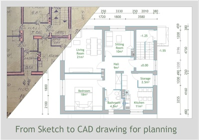Convert your sketch or old plan into fully workable CAD/DWG drawing. 1H=£20