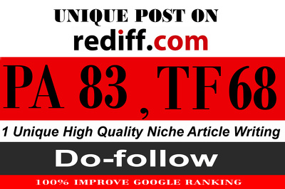 """Write and Publish on """" Rediff """" Guest Post With High TF-68"""