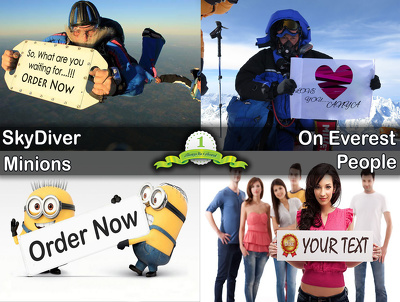 Make 10 pic of people,minions, skydivers or ppl on everest holding your logo or photo