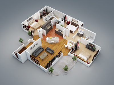 Covert your 2d floor plans into 3d floor plans