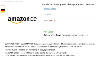 Translate an amazon product listing from English into German (600 words)