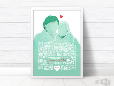 Wedding song portrait - typography wedding song lyrics, names & date of wedding