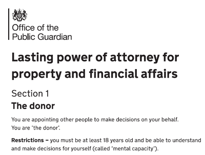 Draft Lasting Power of Attorney (LPA) for £100